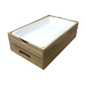 GN1/1 Gastronorm Oak Crate with integrated handle 560x353x175 with porcelain gastronorm