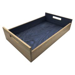 Kingscote Blue Colour Burst Oak Tray with Integrated Raised Handle 580x360x128