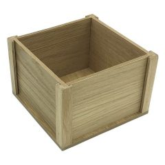 Oak Condiment Holder 4 Sided Table Talker 178x178x116 side view