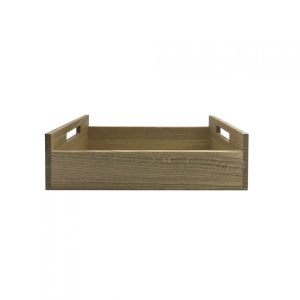 Oak Tray with Integrated Raised Handle 425x310x128 side view