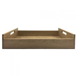 Oak Tray with Integrated Raised Handle 580x360x128 side view