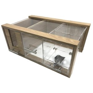 Oak and acrylic bread bin 550x350x230 with selection of drawers
