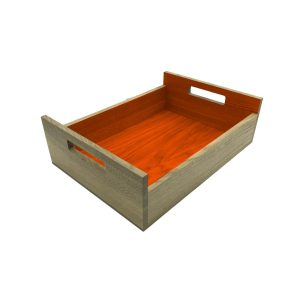 Orange Colour Burst Oak Tray with Integrated Raised Handle 425x310x128