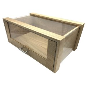 Single Oak & Acrylic Bread Bin with Oak & Acrylic Drawer and Brushed Steel T-Handle 550x350x230