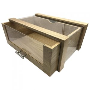 Single Oak & Acrylic Bread Bin with Oak & Acrylic Drawer and Brushed Steel T-Handle 550x350x230 drawer open