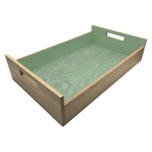 Tetbury Green Colour Burst Oak Tray with Integrated Raised Handle 580x360x128