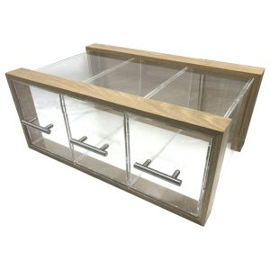 Triple Oak & Acrylic Bread Bin with Acrylic Drawers and Brushed Steel T-Handles 550x350x230