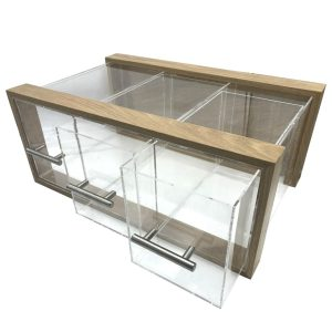 Triple Oak & Acrylic Bread Bin with Acrylic Drawers and Brushed Steel T-Handles 550x350x230 doors open