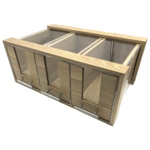 Triple Oak & Acrylic Bread Bin with Oak & Acrylic Drawers and Brushed Steel T-Handles 550x350x230