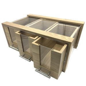 Triple Oak & Acrylic Bread Bin with Oak & Acrylic Drawers and Brushed Steel T-Handles 550x350x230 doors open