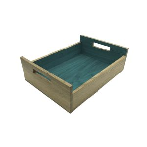 Turquoise Colour Burst Oak Tray with Integrated Raised Handle 425x310x128