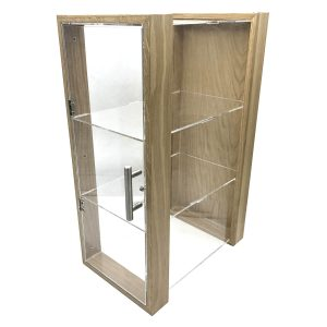 triple shelf Oak & Acrylic Display Cabinet with brushed steel T-Handle 230x350x550