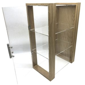 triple shelf Oak & Acrylic Display Cabinet with brushed steel T-Handle 230x350x550 door open