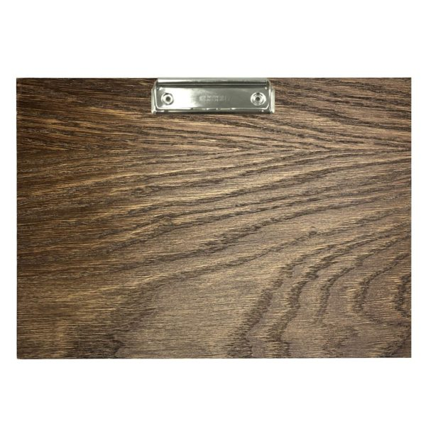 A4 Landscape Dark Brown oak veneered clipboard with clip 230x320x6