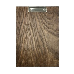 A4 Portrait Dark Brown oak veneered clipboard with clip 230x320x6