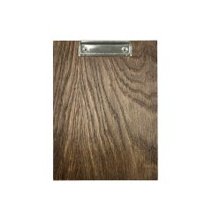 A5 Portrait dark brown oak veneered clipboard with clip 230x175x6