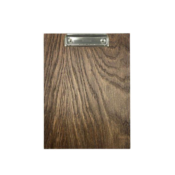A5 Portrait dark brown oak veneered clipboard with clip 230x175x6
