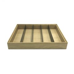 Plain Natural Oak Partitioned Stacker Box 450x179x60 side view