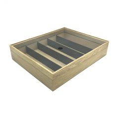 Plain Natural Oak Partitioned Stacker Box 450x360x60 with riser and acrylic lid side view