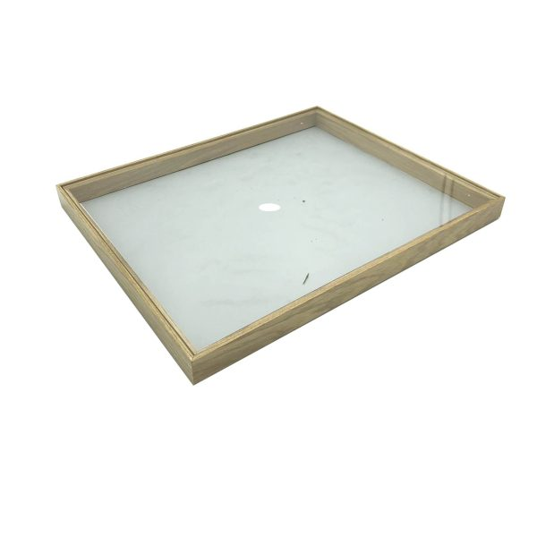 Plain Natural Oak Stacker Box Riser 450x179x30 with acrylic lid