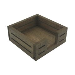 Rustic Brown Oak Veneer Slatted Napkin Holder 195x195x80