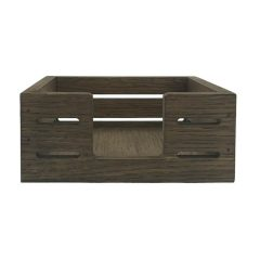 Rustic Brown Oak Veneer Slatted Napkin Holder 195x195x80 front view