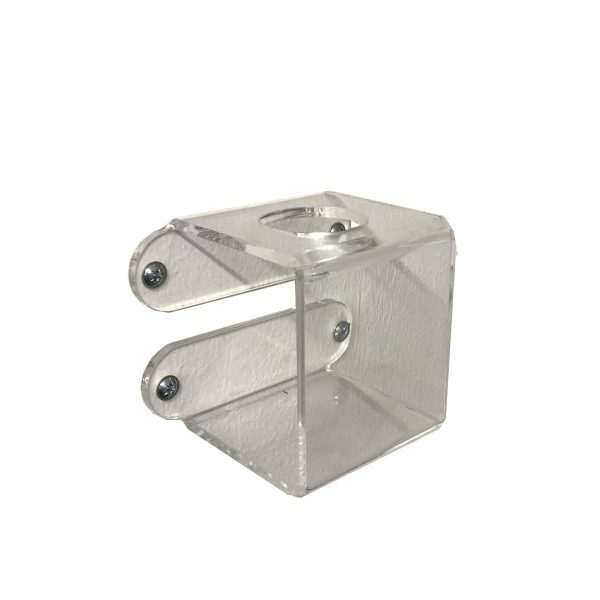 Clear Acrylic wall mounted bracket with 37mm hole 75x75x75