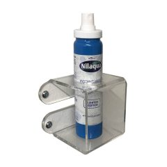 Clear Acrylic wall mounted bracket with 37mm hole 75x75x75 with nilaqua bottle