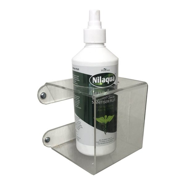 Clear Acrylic wall mounted bracket with 70mm hole 110x110x110 with nilaqua bottle