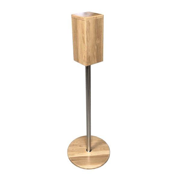 Oak Freestanding Hand Sanitiser Pillar Dispenser Stand 1250x400D