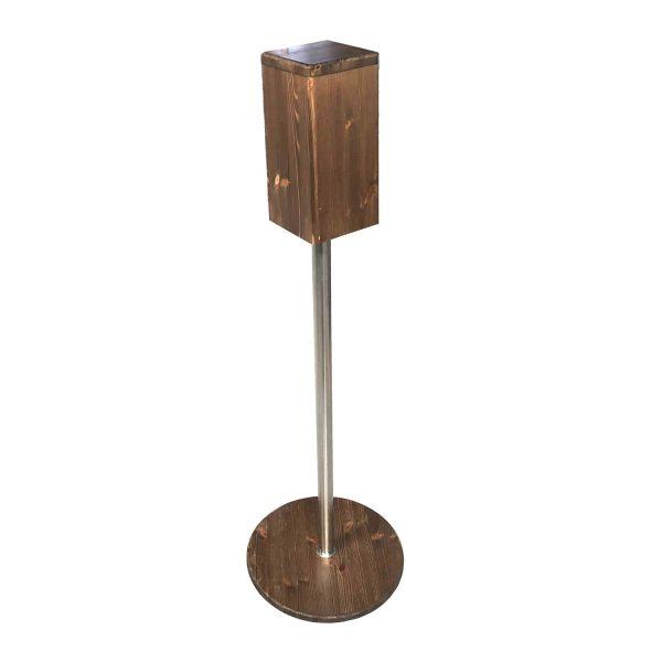 Rustic Brown Pine Freestanding Hand Sanitiser Pillar Dispenser Stand 1250x400D