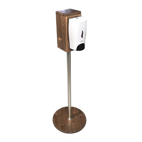 Rustic Brown Pine Freestanding Hand Sanitiser Pillar Dispenser Stand 1250x400D with dispenser