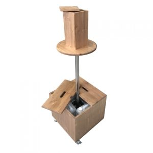 light oak pine mobile dispenser station 450x450x1325 with lids off