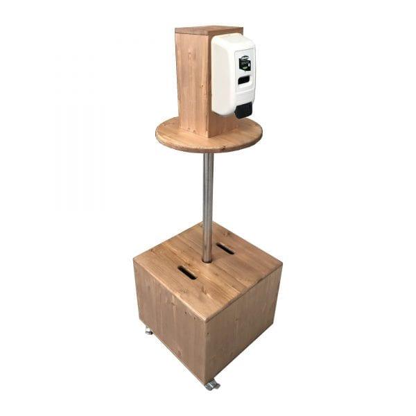 light oak pine mobile dispenser station 450x450x1325 with nilaqua dispenser