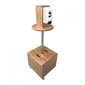 light oak pine mobile dispenser station 450x450x1325 with nilaqua dispenser