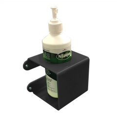 Black Acrylic wall mounted bracket with 70mm Round hole 110x110x110 with nilaqua bottle