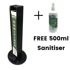 Black Painted pine hands free freestanding hand sanitiser dispenser stand 1030x400D with Nilaqua brand and free bottle