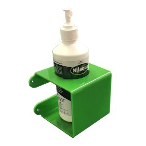 Green Acrylic wall mounted bracket with 70mm Round hole 110x110x110 with nilaqua bottle