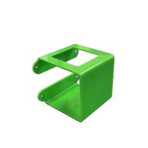 Green Acrylic wall mounted bracket with 73mm Square hole 110x110x110