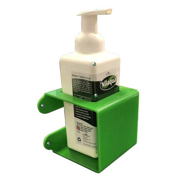 Green Acrylic wall mounted bracket with 73mm Square hole 110x110x110 with nilaqua bottle