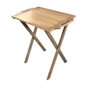 Rustic Brown Pine Folding Tray Stand 495x445x730 with oak butler tray
