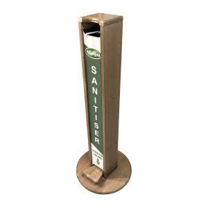light oak pine hands free freestanding hand sanitiser dispenser stand 1030x400D