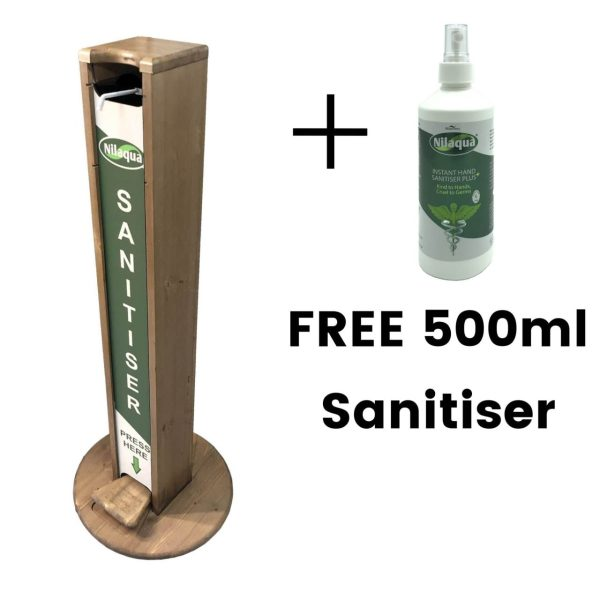 light oak pine hands free freestanding hand sanitiser dispenser stand 1030x400D with nilaqua brand and free bottle