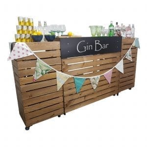 Pop up Gin Bar Front view with script