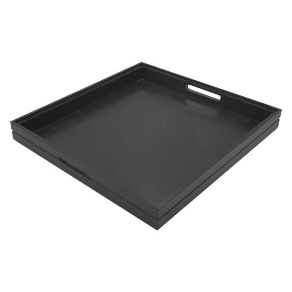 Ribbed Black Oak Handle Tray 700x700x40