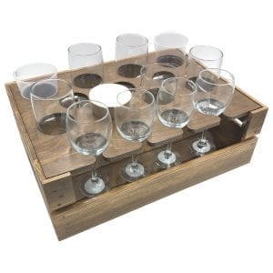 Rustic Beer Garden Drop Front Crate 500x370x165 with insert and glasses