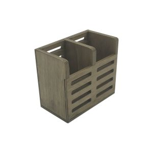Rustic Brown Ply Slatted Double Cutlery Holder 150x84x130
