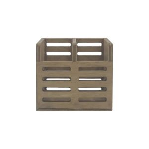 Rustic Brown Ply Slatted Double Cutlery Holder 150x83x130 front view