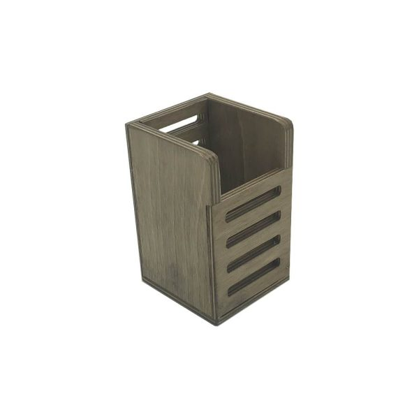 Rustic Brown Ply Slatted Single Cutlery Holder 150x83x130