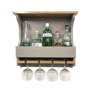 Cotswold House Gretton Grey Personalised Shaker Style Oak 4 Glass Drinks Rack 572x141x528 front view with bottles